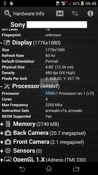 captura del Sony Xperia Z2