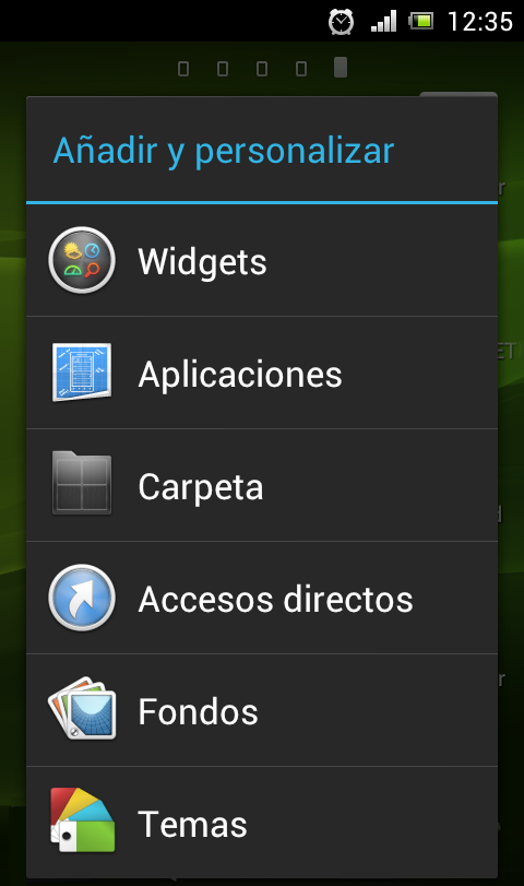 Menú añadir widget