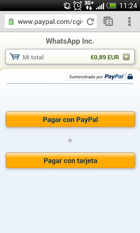 Whatsapp pagar Paypal