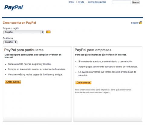PayPal crear cuenta