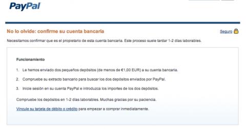 Confirmar cuenta bancaria PayPal