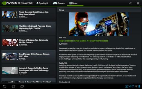 TegraZone es el portal de juegos móviles de NVIDIA