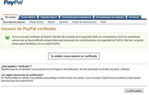 PayPal verificación