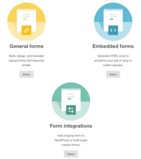 Formularios de registro Mailchimp