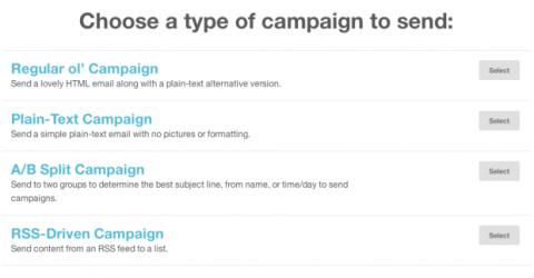 Elegir tipo campaña Mailchimp