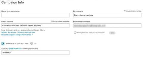 Información campaña Mailchimp