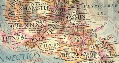 Detalle del continente occidental, mostrando la región para adultos del Sur