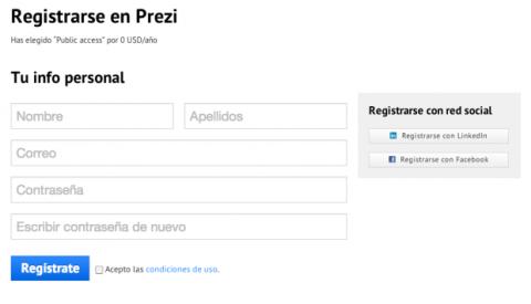 Registrarse en Prezi