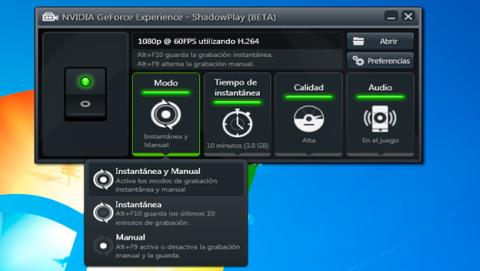 Accede a ShadowPlay y graba tus partidas