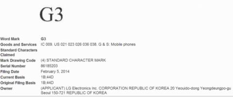 LG G3 trademark registro nombre marca