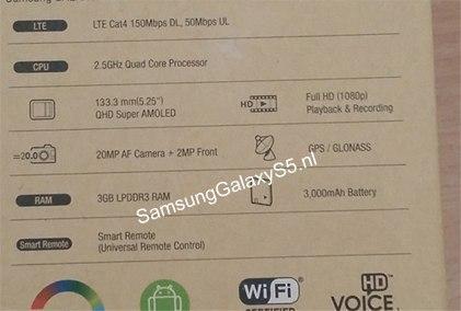Samsung Galaxy S5 caja