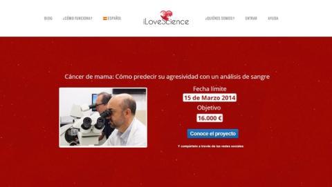 iLoveScience, patrocina proyectos científicos españoles mediante crowdfunding.