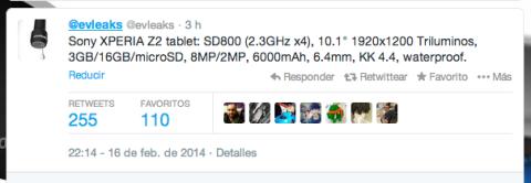 Filtración @evleaks Sony Xperia Tablet Z2