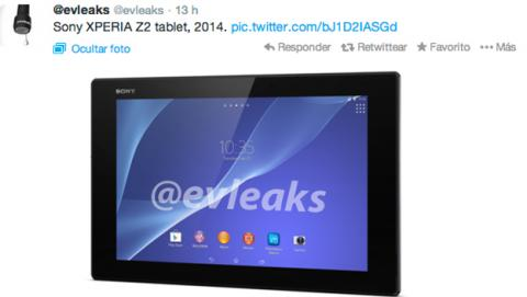 Captura de evleaks del Sony Xperia Tablet Z2
