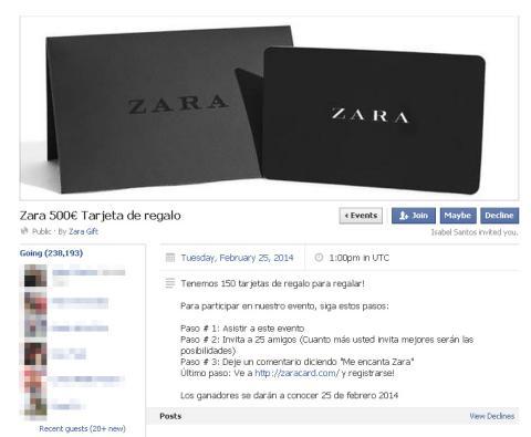 Timo SMS Premium evento cheque regalo 500 euros Zara
