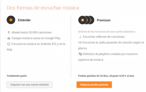 Google Play Music Estándar o Premium