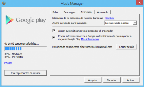 Google Play Music Manager configuración