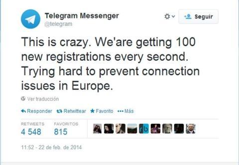 Telegram caída, arrastrada por WhatsApp