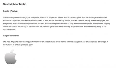 iPad Air elegida mejor tablet en los Global Mobile Awards