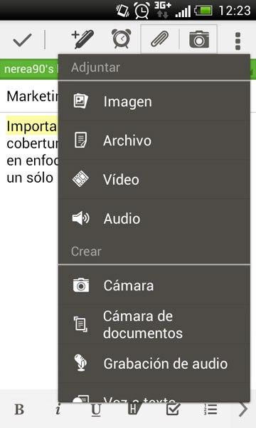 Insertar archivo Evernote