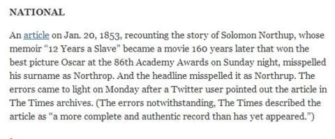 New York Times 12 Años Esclavitud