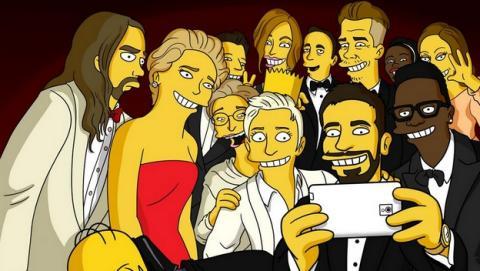 Bart Simpson se cuela en el selfie de DeGeneres en Los Oscar. Homer Simpson lo intenta.