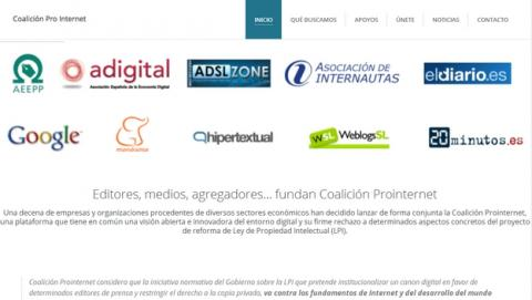 Se funda la Coalición Prointernet, Google, Menéame, La Asociación de Internautas y otros medios online, forman una alianza para luchar contra la Tasa Google de la Ley de Propiedad Intelectual.