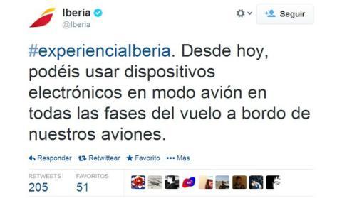 Twitter Iberia Modo Avión