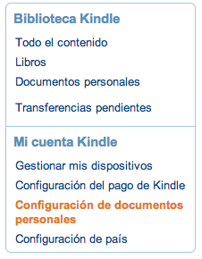 Configuración de documentos personales Amazon Kindle