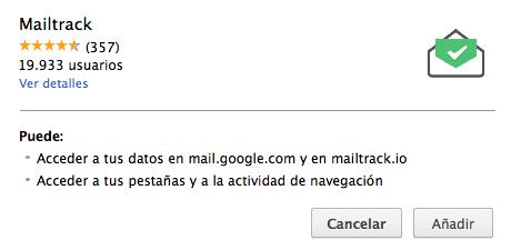 Mailtrack complemento Chrome