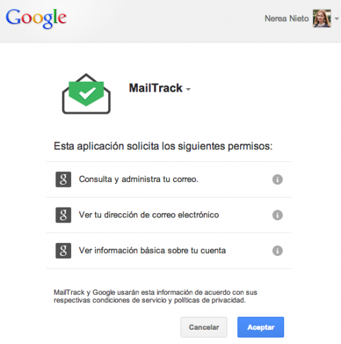 MailTrack aceptar permisos