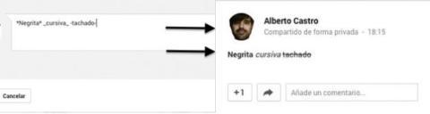 Añade formato al texto Google+