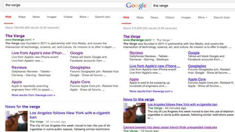 Ahora lo ves y ahora no, Google elimina los enlaces subrayados (Imagen: The Verge)