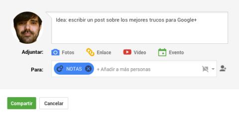 Guardar posts de forma privada Google+