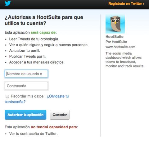 Autorizar Twitter Hootsuite