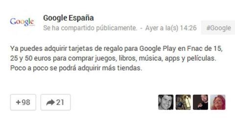 Tarjetas regalo Google Play en España