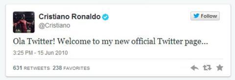 Primer Tweet Cristiano Ronaldo