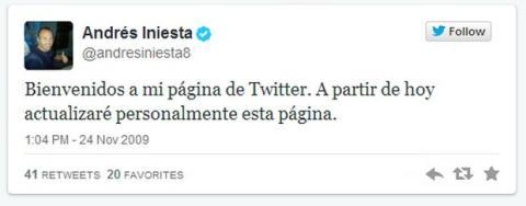 Primer tweet Andrés Iniesta