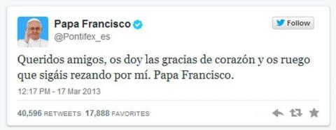 Primer Tweet Papa Francisco
