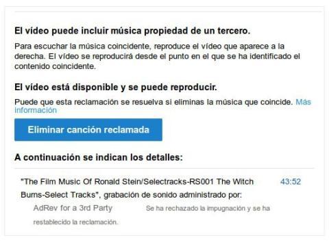 Youtube copyright por canción