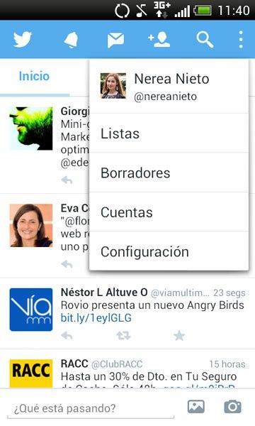 Configuración Twitter Android