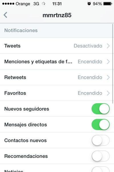 Configuración Twitter iOS