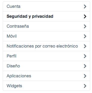 Configuración Twitter: seguridad y privacidad