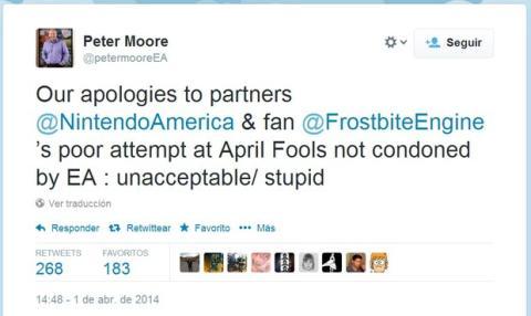 EA pide perdón a Nintendo por broma