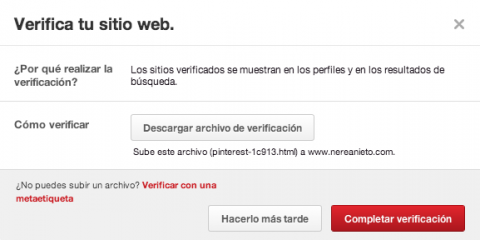 Verificar sitio web Pinterest
