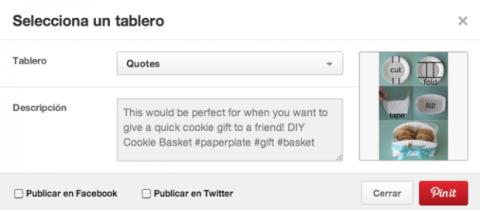 Seleccionar un tablero Pinterest
