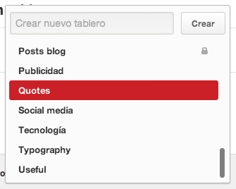 Crear tablero nuevo Pinterest