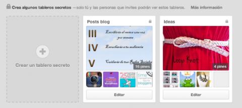 Crear tablero secreto Pinterest