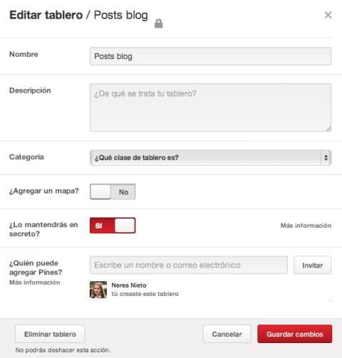 Editar tablero Pinterest
