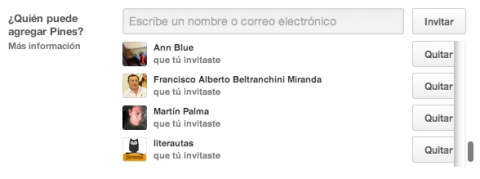 Invitar personas tablero Pinterest